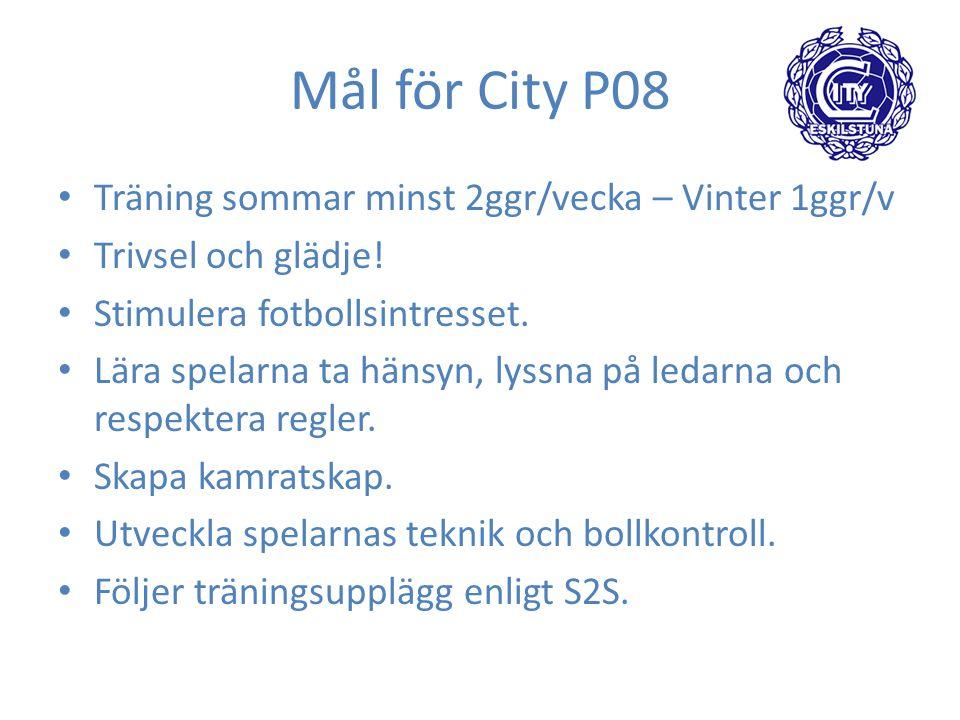 Mål för City P08 Träning sommar minst 2ggr/vecka – Vinter 1ggr/v Trivsel och glädje.