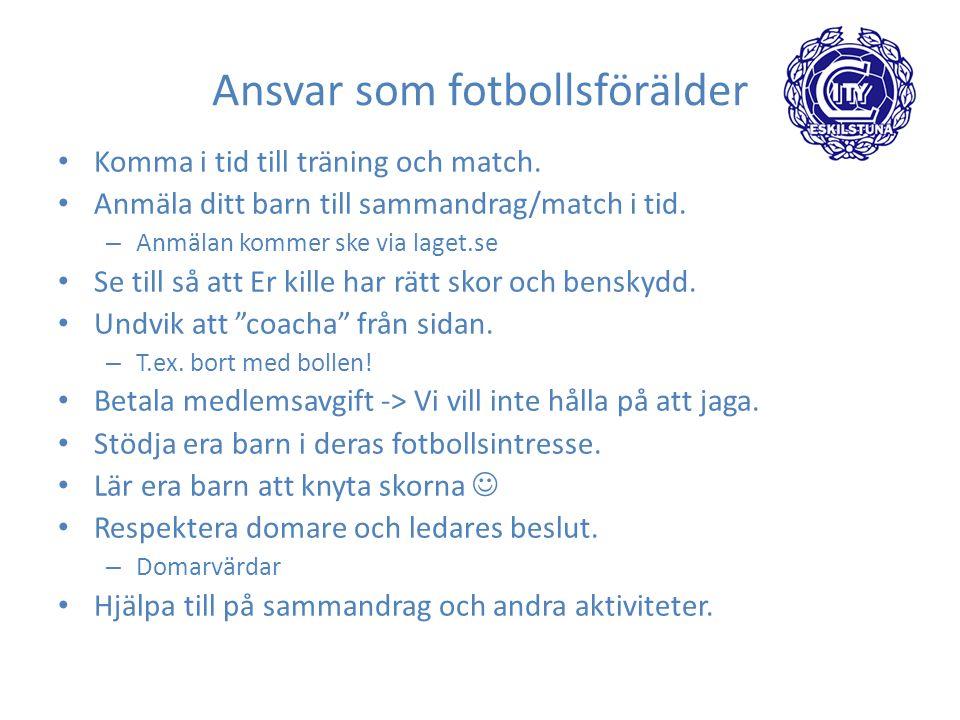Ansvar som fotbollsförälder Komma i tid till träning och match.