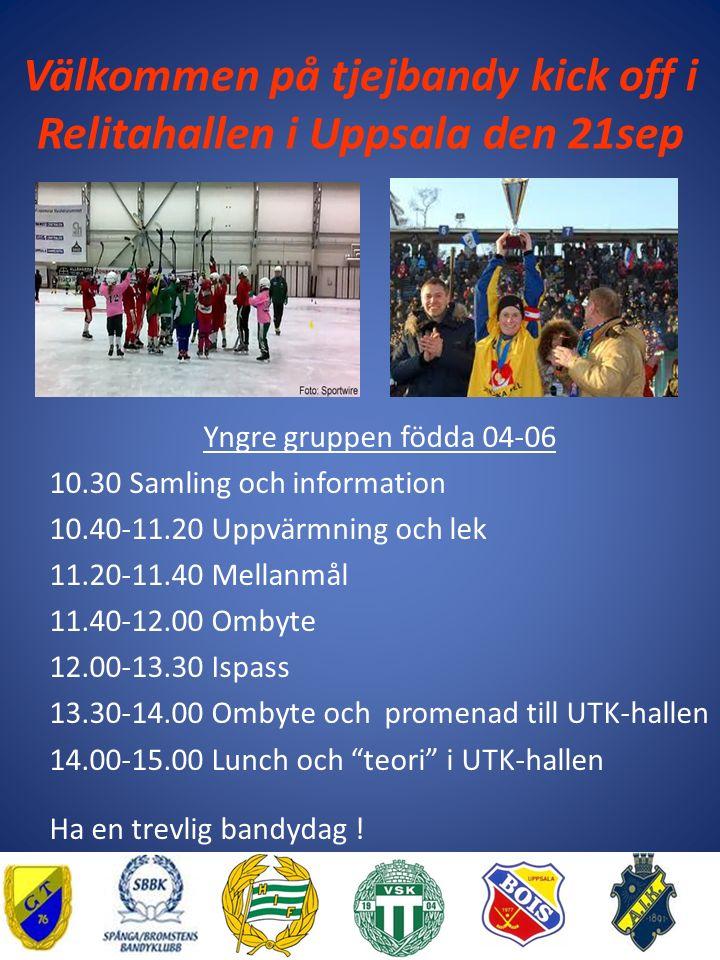 Välkommen på tjejbandy kick off i Relitahallen i Uppsala den 21sep Yngre gruppen födda 04-06 10.30 Samling och information 10.40-11.20 Uppvärmning och lek 11.20-11.40 Mellanmål 11.40-12.00 Ombyte 12.00-13.30 Ispass 13.30-14.00 Ombyte och promenad till UTK-hallen 14.00-15.00 Lunch och teori i UTK-hallen Ha en trevlig bandydag !
