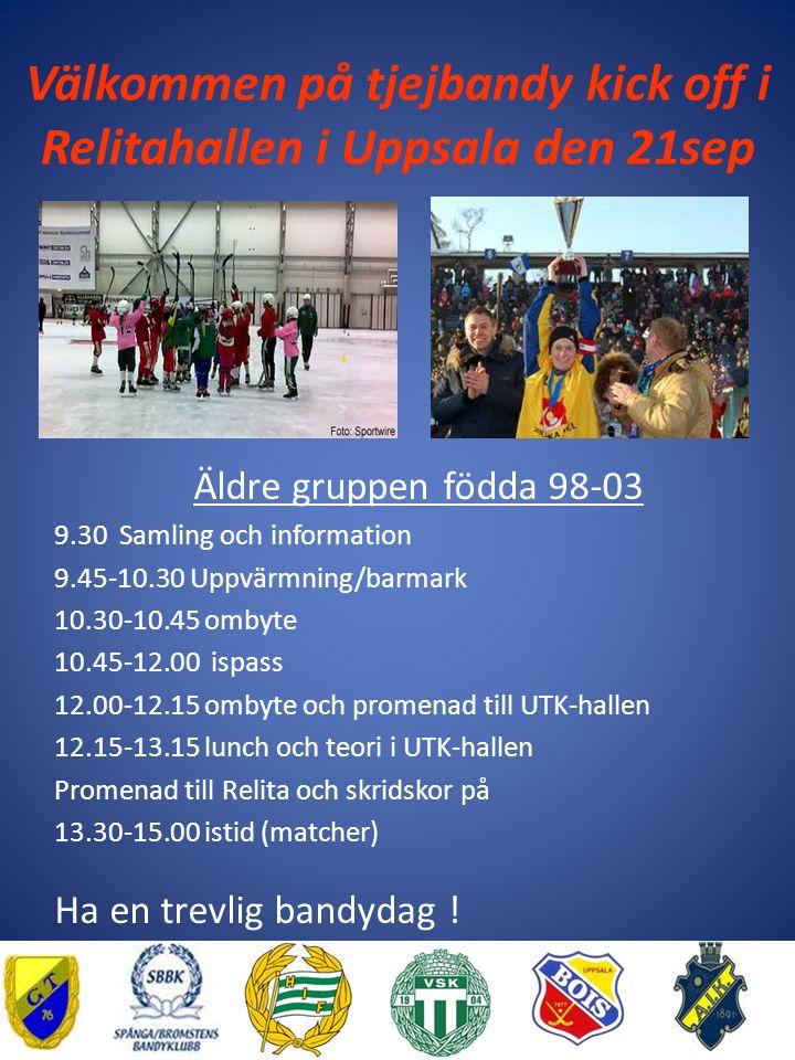 Välkommen på tjejbandy kick off i Relitahallen i Uppsala den 21sep Äldre gruppen födda 98-03 9.30 Samling och information 9.45-10.30 Uppvärmning/barmark 10.30-10.45 ombyte 10.45-12.00 ispass 12.00-12.15 ombyte och promenad till UTK-hallen 12.15-13.15 lunch och teori i UTK-hallen Promenad till Relita och skridskor på 13.30-15.00 istid (matcher) Ha en trevlig bandydag !