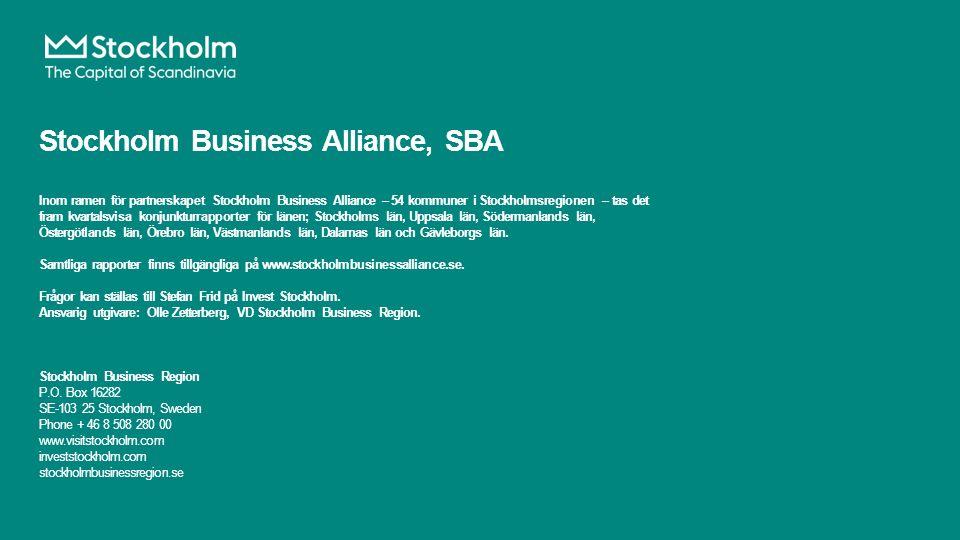 Stockholm Business Alliance, SBA Inom ramen för partnerskapet Stockholm Business Alliance – 54 kommuner i Stockholmsregionen – tas det fram kvartalsvisa konjunkturrapporter för länen; Stockholms län, Uppsala län, Södermanlands län, Östergötlands län, Örebro län, Västmanlands län, Dalarnas län och Gävleborgs län.