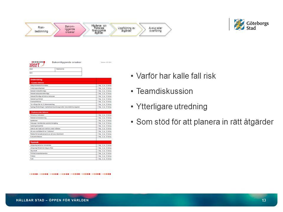 13 Varför har kalle fall risk Teamdiskussion Ytterligare utredning Som stöd för att planera in rätt åtgärder Bakomliggande orsaker Risk- bedömning Bakom- liggande orsaker Pågående och Planerade förebyggande åtgärder Uppföljning av åtgärder Avslut eller överföring
