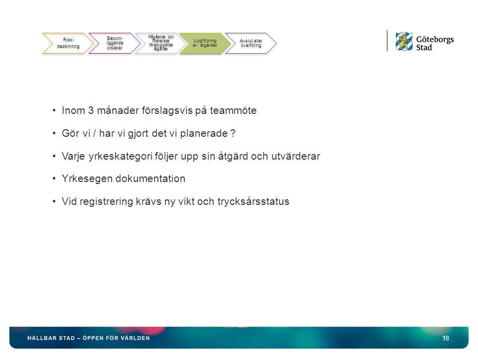 18 Risk- bedömning Bakom- liggande orsaker Pågående och Planerade förebyggande åtgärder Uppföljning av åtgärder Avslut eller överföring Inom 3 månader förslagsvis på teammöte Gör vi / har vi gjort det vi planerade .