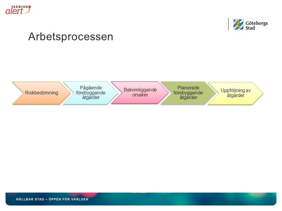 Arbetsprocessen Riskbedömning Bakomliggande orsaker Pågående förebyggande åtgärder Uppföljning av åtgärder Planerade förebyggande åtgärder