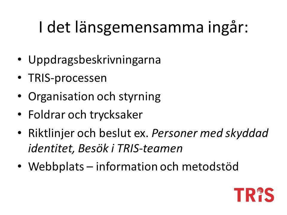 I det länsgemensamma ingår: Uppdragsbeskrivningarna TRIS-processen Organisation och styrning Foldrar och trycksaker Riktlinjer och beslut ex.