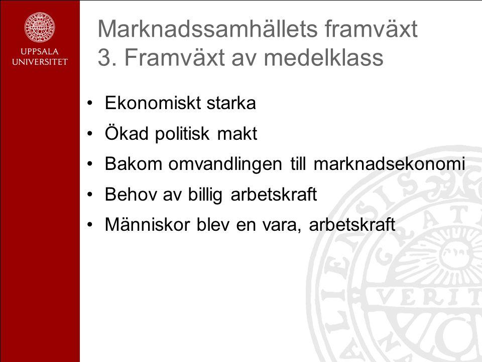 Marknadssamhällets framväxt 3.