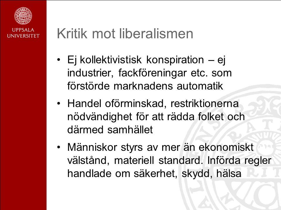Kritik mot liberalismen Ej kollektivistisk konspiration – ej industrier, fackföreningar etc. som förstörde marknadens automatik Handel oförminskad, re
