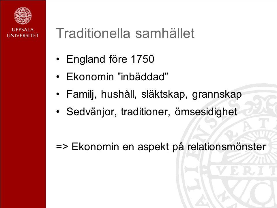 Traditionella samhället England före 1750 Ekonomin inbäddad Familj, hushåll, släktskap, grannskap Sedvänjor, traditioner, ömsesidighet => Ekonomin en aspekt på relationsmönster