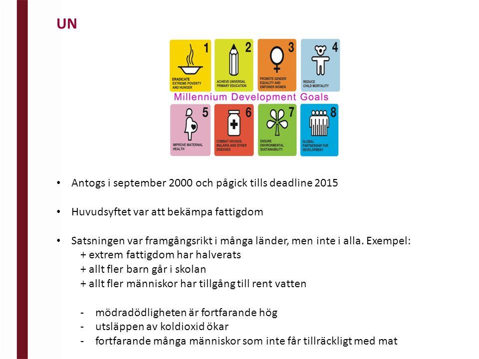 Antogs i september 2000 och pågick tills deadline 2015 Huvudsyftet var att bekämpa fattigdom Satsningen var framgångsrikt i många länder, men inte i alla.
