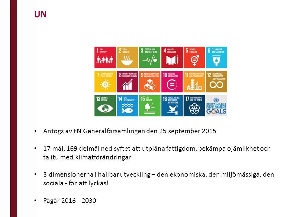 Antogs av FN Generalförsamlingen den 25 september 2015 17 mål, 169 delmål ned syftet att utplåna fattigdom, bekämpa ojämlikhet och ta itu med klimatförändringar 3 dimensionerna i hållbar utveckling – den ekonomiska, den miljömässiga, den sociala - för att lyckas.