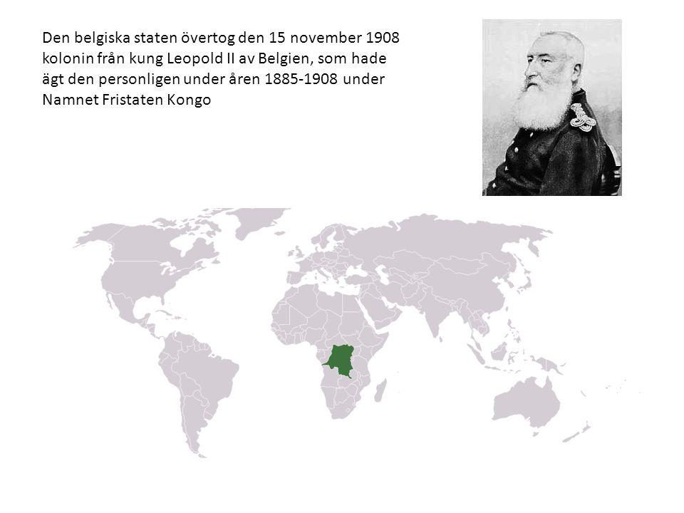 Den belgiska staten övertog den 15 november 1908 kolonin från kung Leopold II av Belgien, som hade ägt den personligen under åren 1885-1908 under Namnet Fristaten Kongo