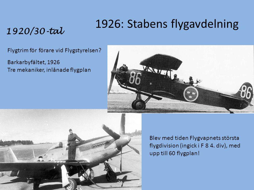 1926: Stabens flygavdelning Flygtrim för förare vid Flygstyrelsen.