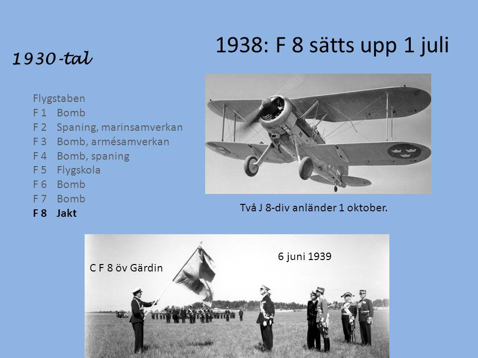 1938: F 8 sätts upp 1 juli 1930-tal Flygstaben F 1Bomb F 2Spaning, marinsamverkan F 3Bomb, armésamverkan F 4Bomb, spaning F 5Flygskola F 6Bomb F 7Bomb F 8Jakt Två J 8-div anländer 1 oktober.