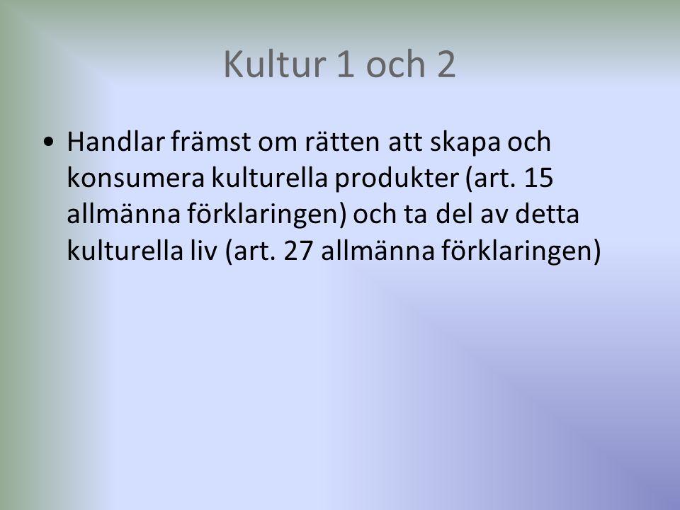 Kultur 1 och 2 Handlar främst om rätten att skapa och konsumera kulturella produkter (art. 15 allmänna förklaringen) och ta del av detta kulturella li