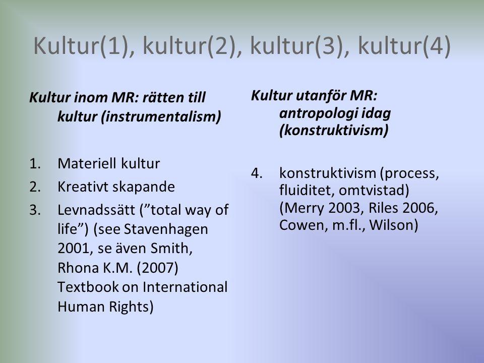 Kultur(1), kultur(2), kultur(3), kultur(4) Kultur inom MR: rätten till kultur (instrumentalism) 1.Materiell kultur 2.Kreativt skapande 3.Levnadssätt (