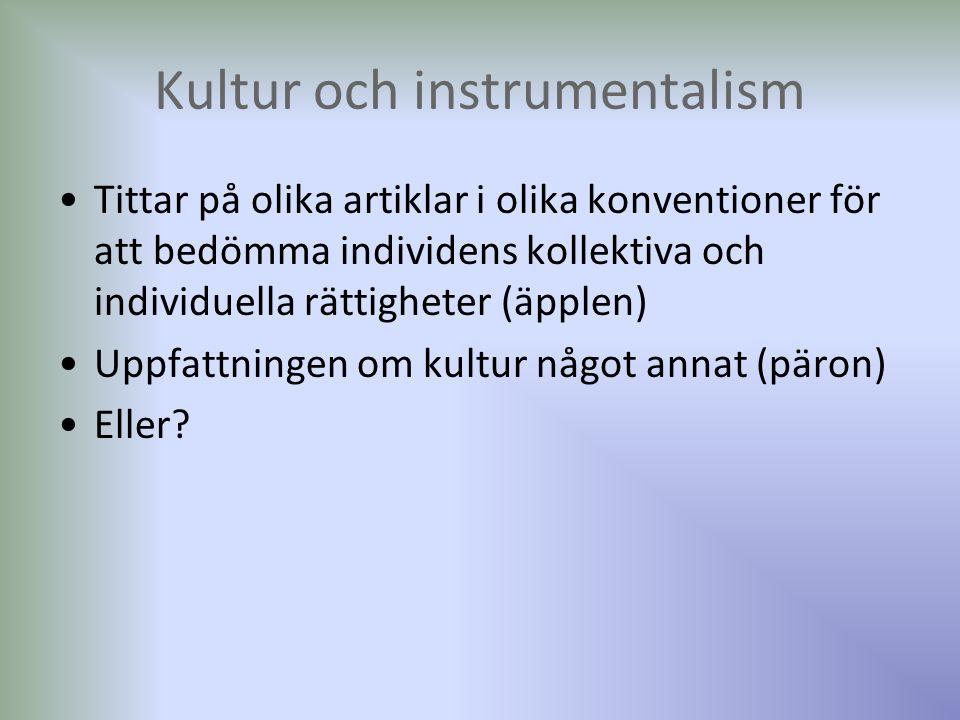 Kultur och instrumentalism Tittar på olika artiklar i olika konventioner för att bedömma individens kollektiva och individuella rättigheter (äpplen) Uppfattningen om kultur något annat (päron) Eller