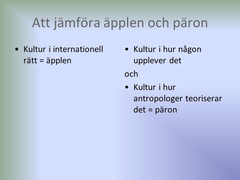 Att jämföra äpplen och päron Kultur i internationell rätt = äpplen Kultur i hur någon upplever det och Kultur i hur antropologer teoriserar det = päron