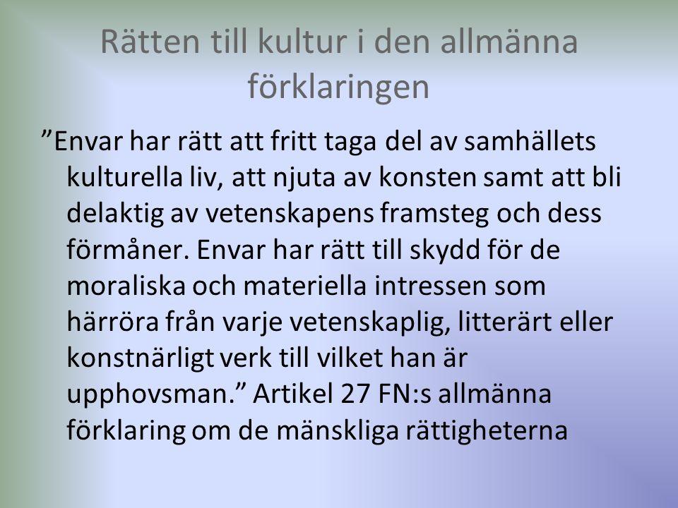 Kultur främst som hinder för kvinnors rättigheter Många MR dokument, t.ex.
