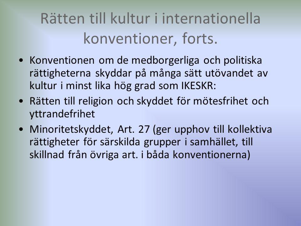 Rätten till kultur i internationella konventioner, forts.