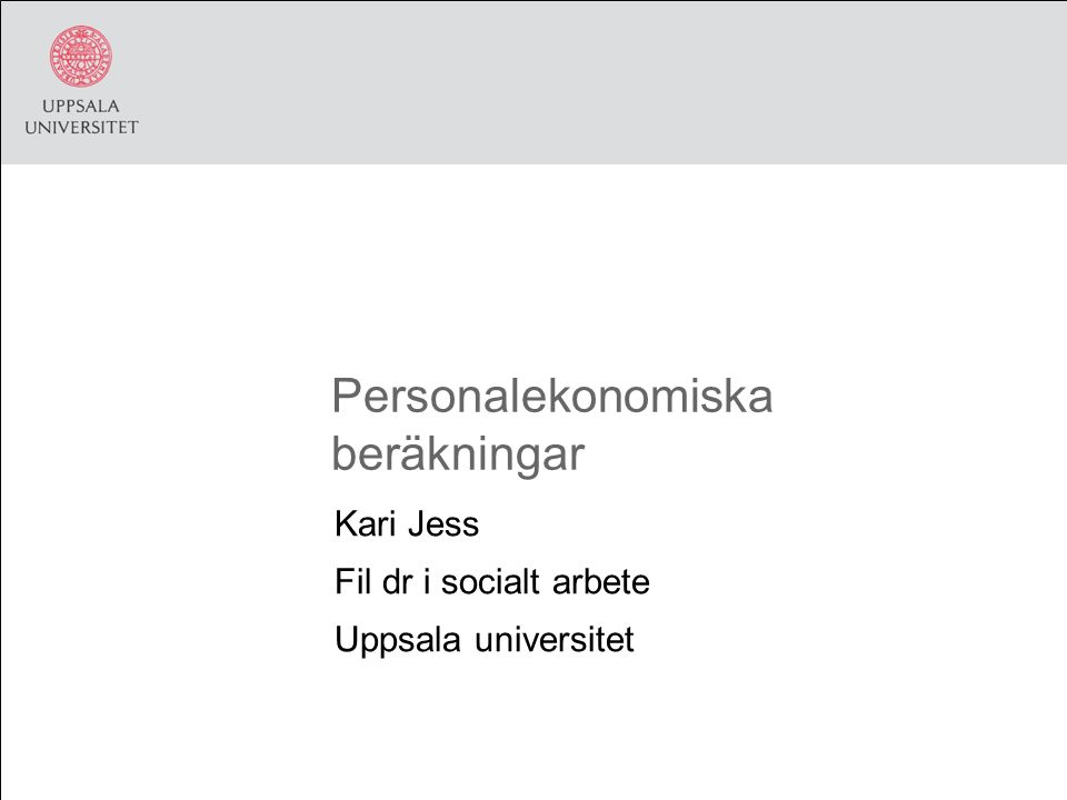 Personalekonomiska beräkningar Kari Jess Fil dr i socialt arbete Uppsala universitet