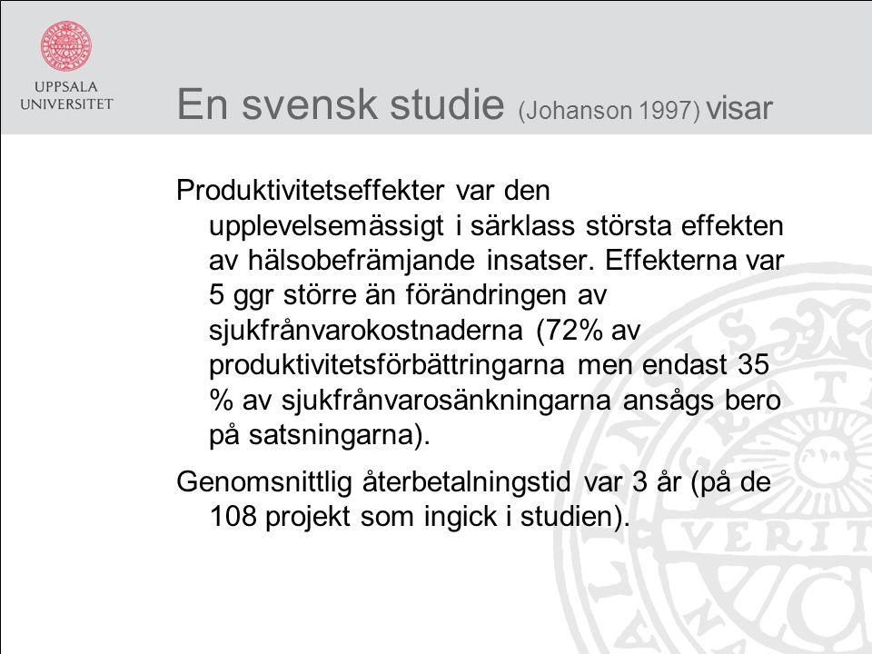 En svensk studie (Johanson 1997) visar Produktivitetseffekter var den upplevelsemässigt i särklass största effekten av hälsobefrämjande insatser.