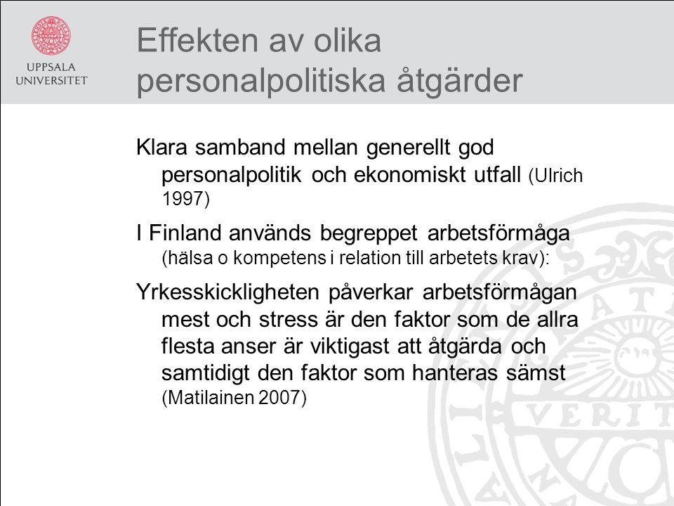 Effekten av olika personalpolitiska åtgärder Klara samband mellan generellt god personalpolitik och ekonomiskt utfall (Ulrich 1997) I Finland används begreppet arbetsförmåga (hälsa o kompetens i relation till arbetets krav): Yrkesskickligheten påverkar arbetsförmågan mest och stress är den faktor som de allra flesta anser är viktigast att åtgärda och samtidigt den faktor som hanteras sämst (Matilainen 2007)