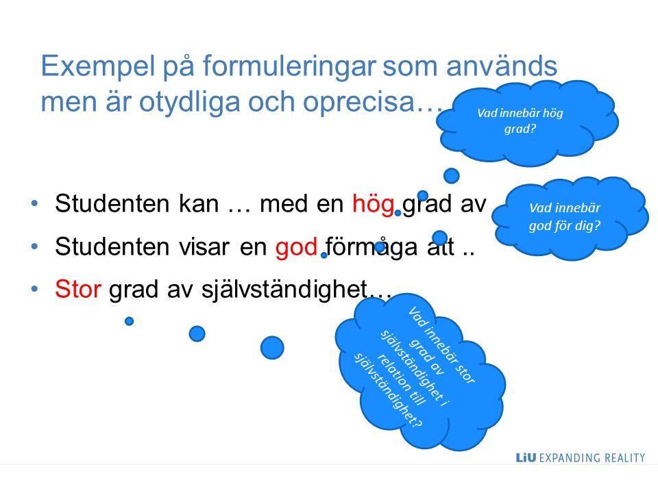 Exempel på formuleringar som används men är otydliga och oprecisa… Studenten kan … med en hög grad av … Studenten visar en god förmåga att..