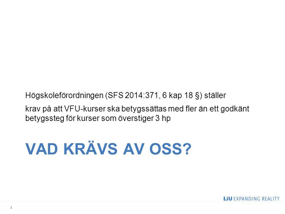 VAD KRÄVS AV OSS.