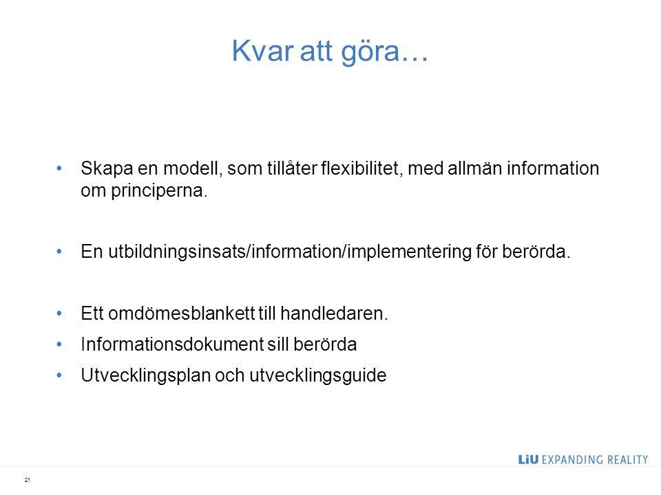 Kvar att göra… Skapa en modell, som tillåter flexibilitet, med allmän information om principerna.