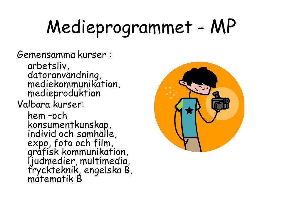 Medieprogrammet - MP Gemensamma kurser : arbetsliv, datoranvändning, mediekommunikation, medieproduktion Valbara kurser: hem –och konsumentkunskap, individ och samhälle, expo, foto och film, grafisk kommunikation, ljudmedier, multimedia, tryckteknik, engelska B, matematik B