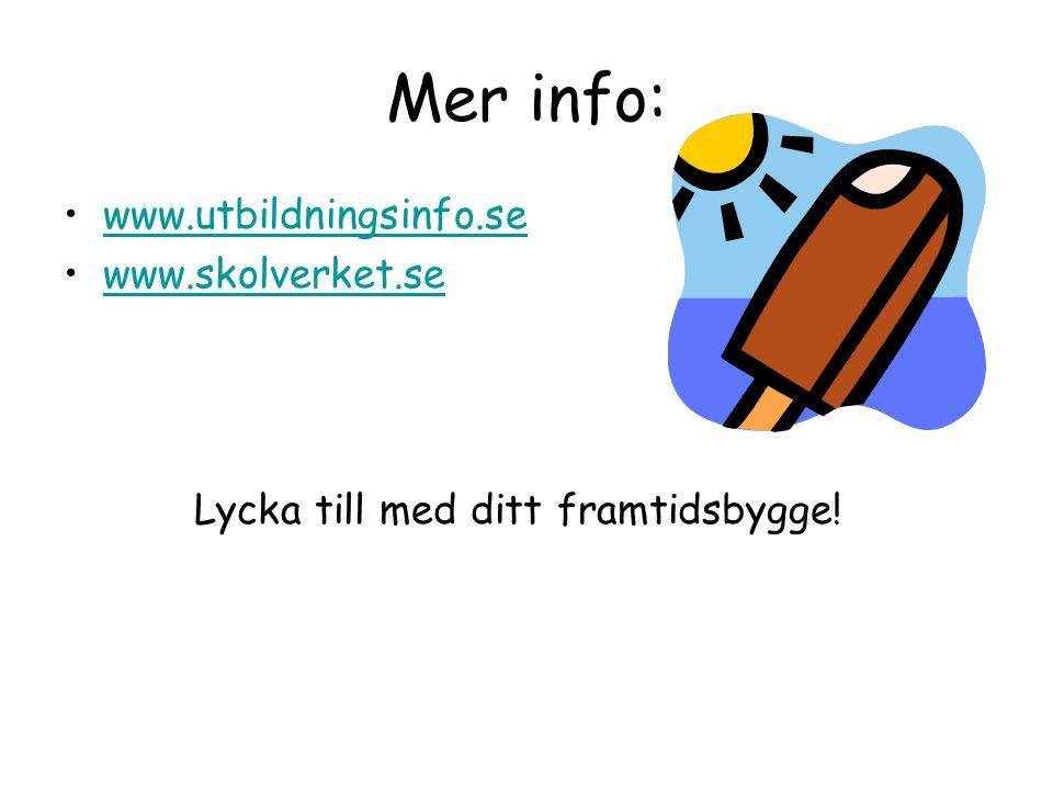 Mer info: www.utbildningsinfo.se www.skolverket.se Lycka till med ditt framtidsbygge!