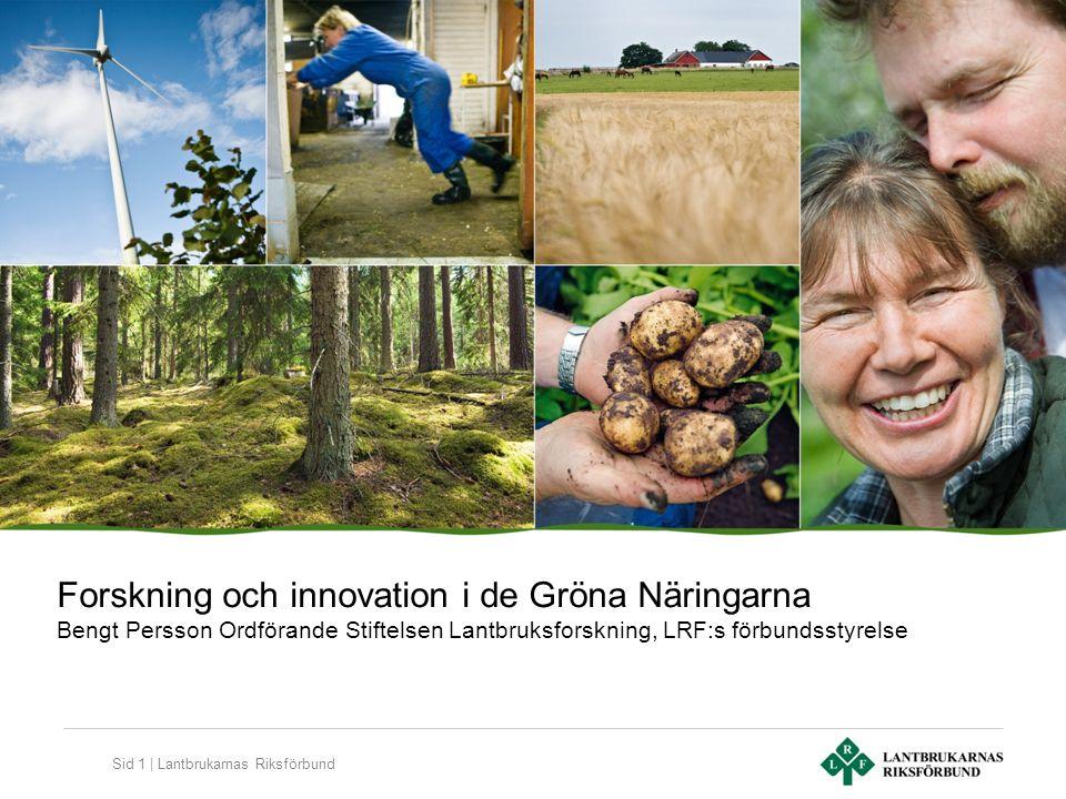 Sid 1 | Lantbrukarnas Riksförbund Forskning och innovation i de Gröna Näringarna Bengt Persson Ordförande Stiftelsen Lantbruksforskning, LRF:s förbundsstyrelse