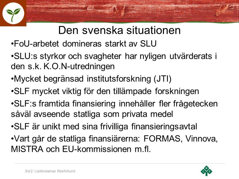 Sid 3 | Lantbrukarnas Riksförbund SLF:s SWOT Svagheter - Osynliga inom näringen och utåt i samhället - Icke-definierade och otydliga värden, erbjudanden och avtal - Ifrågasatt finansiering - Kortsiktighet - Saknar stark koppling till rådgivningen Hot - Statens avhopp som medfinansiär riskerar att leda till fler avhopp - De privata finansiärerna är småföretagare med små resurser och många gånger svag lönsamhet - Otydlig roll och position i det offentligt definierade och finansierade FoI-systemet - Dåligt utvecklad värdekedja för kunskapstillämpning - Ointresse från politiskt håll för tillämpbar forskning.