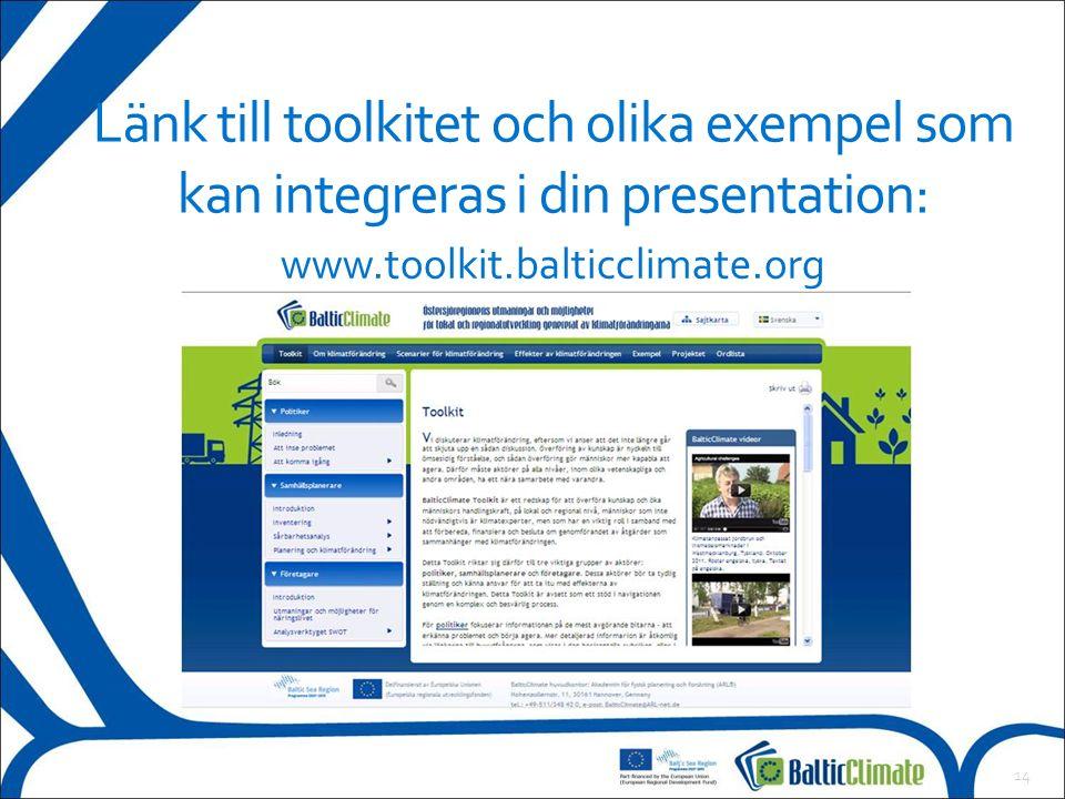 14 Länk till toolkitet och olika exempel som kan integreras i din presentation: www.toolkit.balticclimate.org
