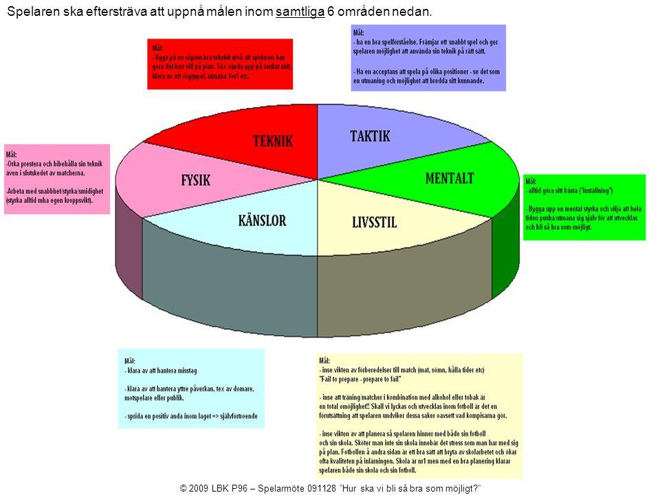 Spelaren ska eftersträva att uppnå målen inom samtliga 6 områden nedan.