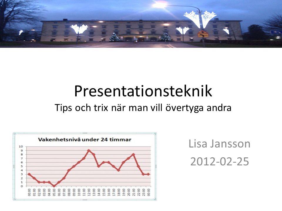 Presentationsteknik Tips och trix när man vill övertyga andra Lisa Jansson 2012-02-25