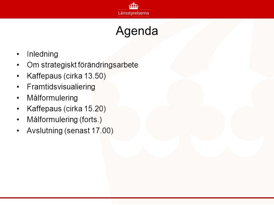 Agenda Inledning Om strategiskt förändringsarbete Kaffepaus (cirka 13.50) Framtidsvisualiering Målformulering Kaffepaus (cirka 15.20) Målformulering (forts.) Avslutning (senast 17.00)