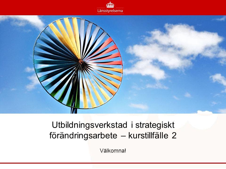 Utbildningsverkstad i strategiskt förändringsarbete – kurstillfälle 2 Välkomna!