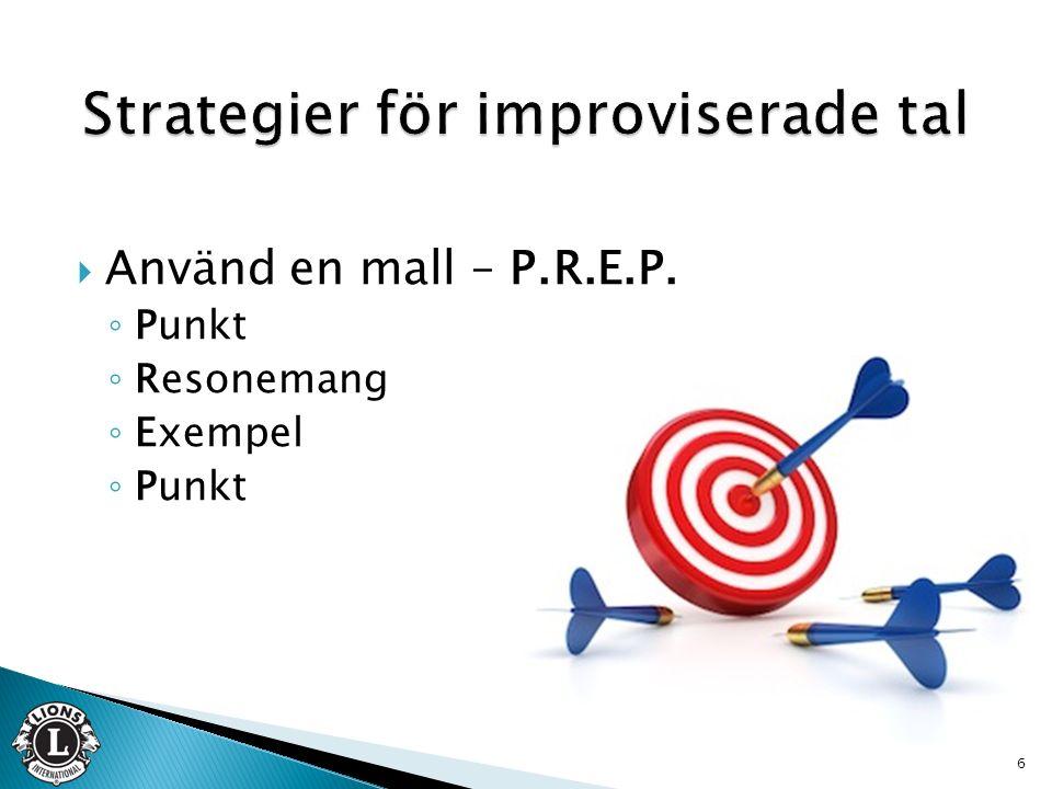  Använd en mall – P.R.E.P. ◦ Punkt ◦ Resonemang ◦ Exempel ◦ Punkt 6