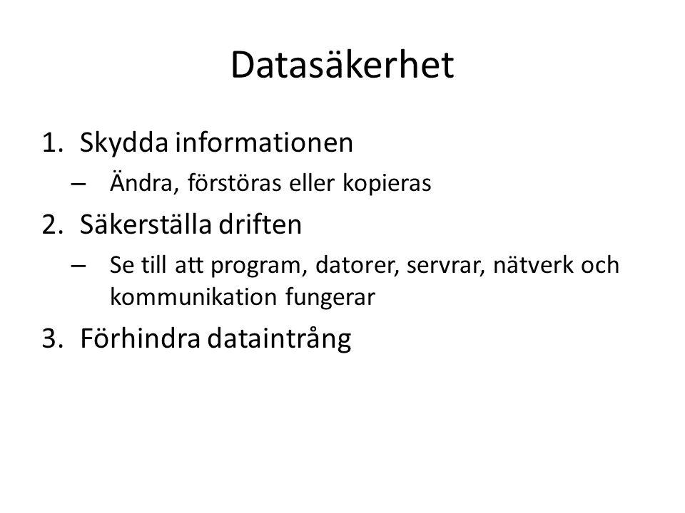 Datasäkerhet 1.Skydda informationen – Ändra, förstöras eller kopieras 2.Säkerställa driften – Se till att program, datorer, servrar, nätverk och kommunikation fungerar 3.Förhindra dataintrång