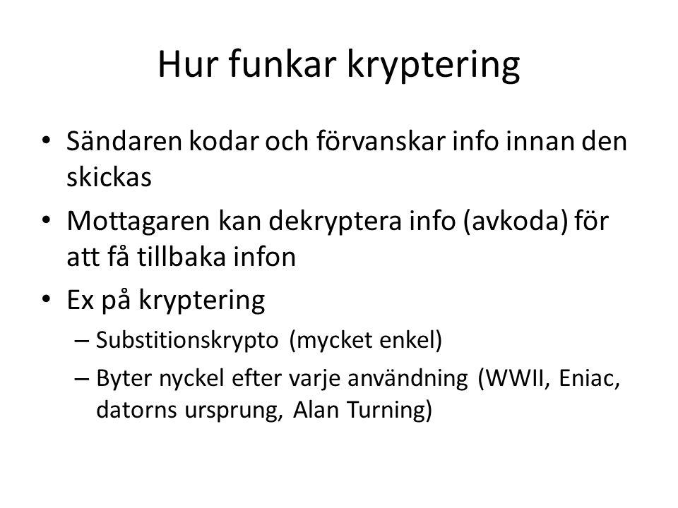 Hur funkar kryptering Sändaren kodar och förvanskar info innan den skickas Mottagaren kan dekryptera info (avkoda) för att få tillbaka infon Ex på kry