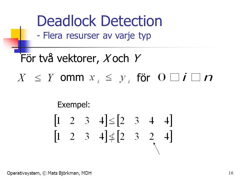 Operativsystem, © Mats Björkman, MDH 16 För två vektorer, X och Y omm för Exempel: Deadlock Detection - Flera resurser av varje typ