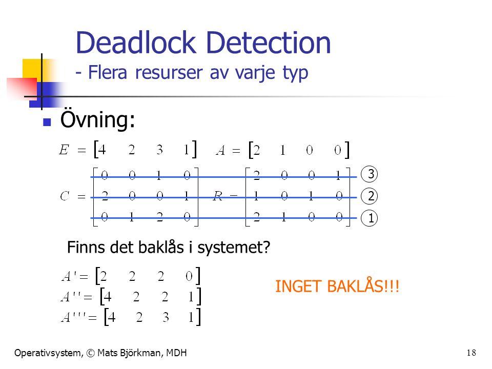 Operativsystem, © Mats Björkman, MDH 18 Övning: Finns det baklås i systemet.