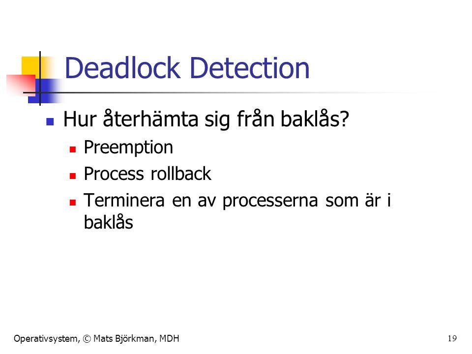Operativsystem, © Mats Björkman, MDH 19 Deadlock Detection Hur återhämta sig från baklås.