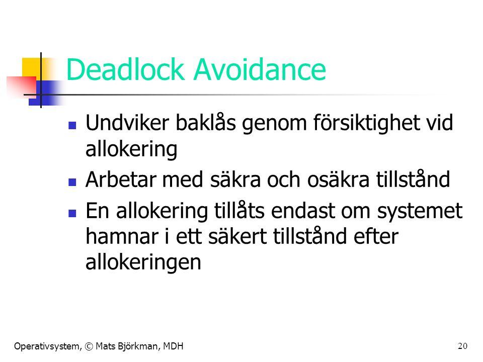Operativsystem, © Mats Björkman, MDH 20 Deadlock Avoidance Undviker baklås genom försiktighet vid allokering Arbetar med säkra och osäkra tillstånd En allokering tillåts endast om systemet hamnar i ett säkert tillstånd efter allokeringen
