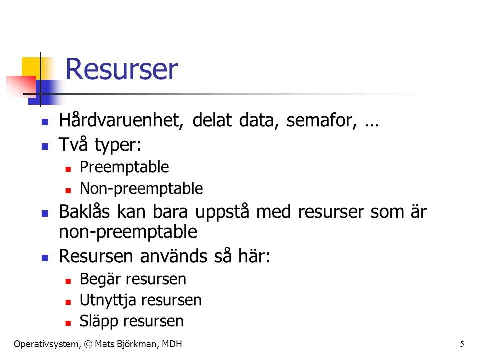Operativsystem, © Mats Björkman, MDH 5 Resurser Hårdvaruenhet, delat data, semafor, … Två typer: Preemptable Non-preemptable Baklås kan bara uppstå med resurser som är non-preemptable Resursen används så här: Begär resursen Utnyttja resursen Släpp resursen