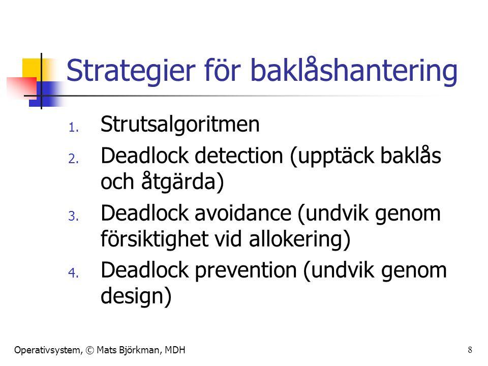 Operativsystem, © Mats Björkman, MDH 29 Summering Strategier för att hantera baklås 4 strategier: Strutsalgoritmen Deadlock detections and recovery Deadlock avoidance Deadlock prevention