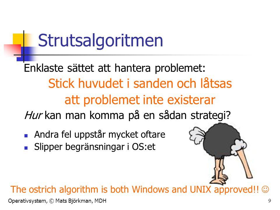 Operativsystem, © Mats Björkman, MDH 9 Strutsalgoritmen Enklaste sättet att hantera problemet: Stick huvudet i sanden och låtsas att problemet inte existerar Hur kan man komma på en sådan strategi.