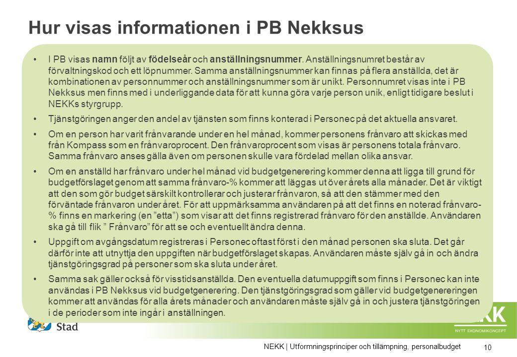 Hur visas informationen i PB Nekksus I PB visas namn följt av födelseår och anställningsnummer.