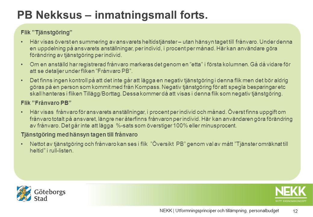 PB Nekksus – inmatningsmall forts.